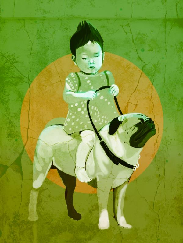 Girl Riding a Dog