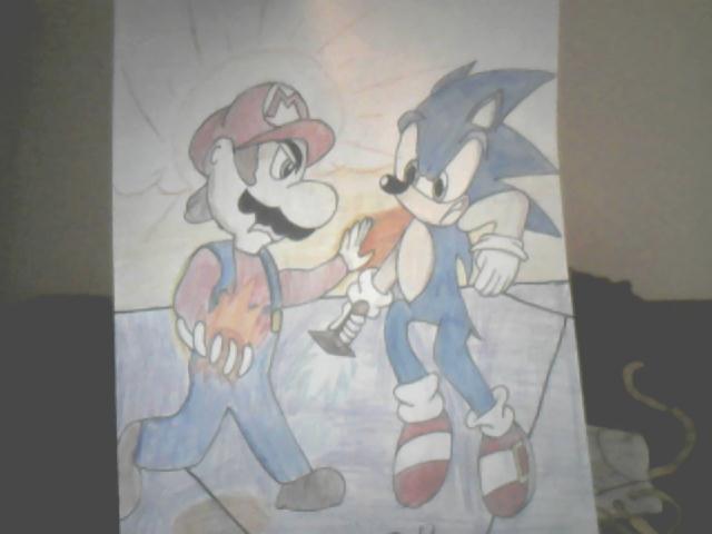 Mario Vs Sonic Drawing