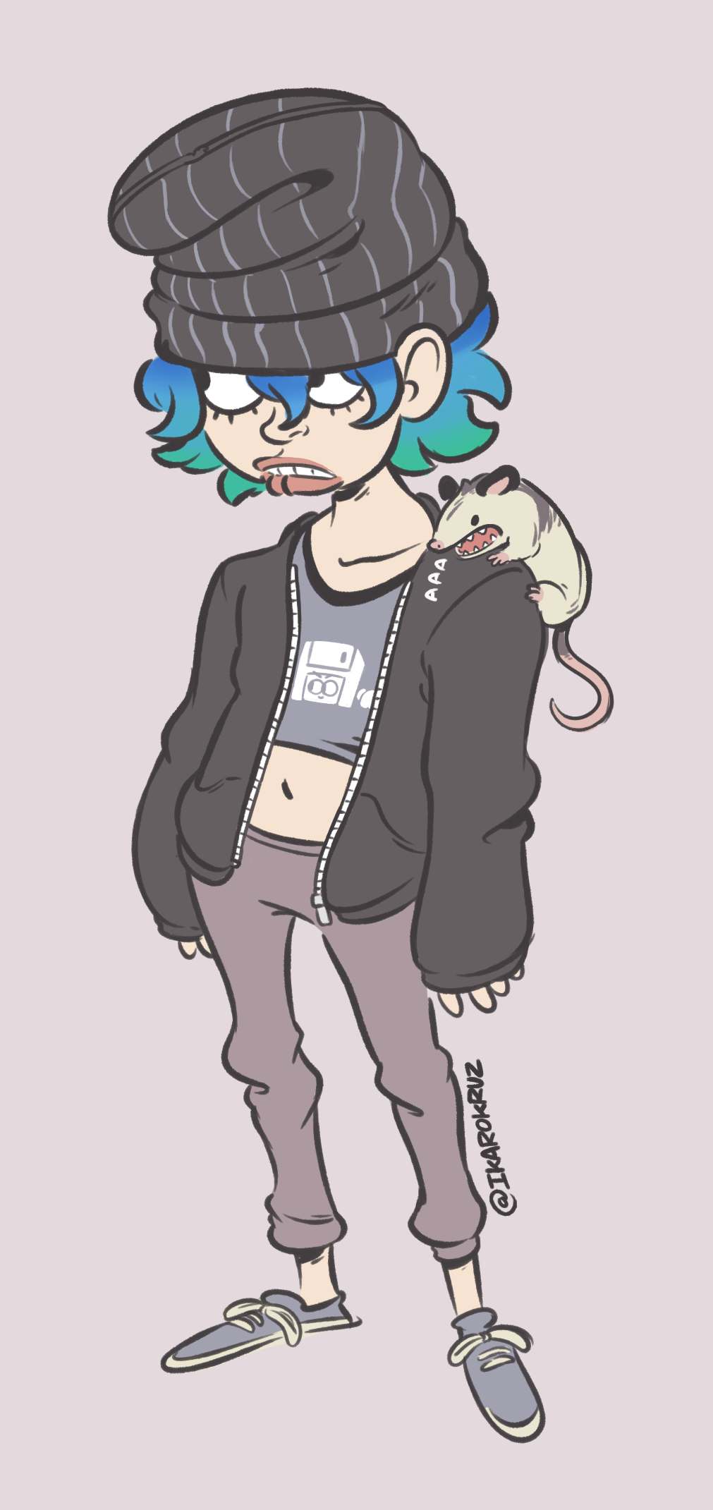 Jo and her opossum