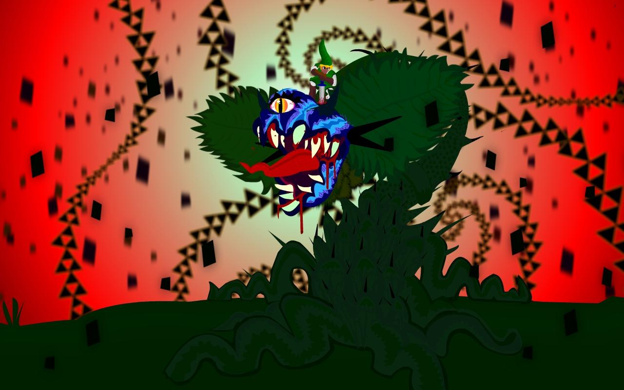 Giant Deku Flower vs Link