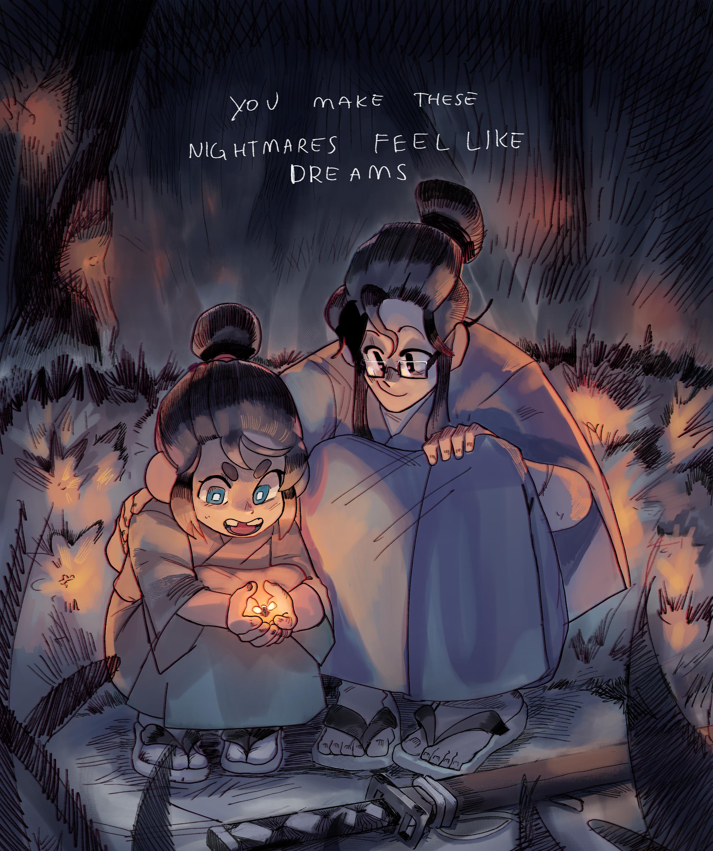 in that garden of fireflies