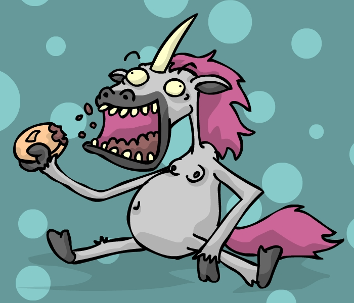 A UNICORN EATING MEAT PIE