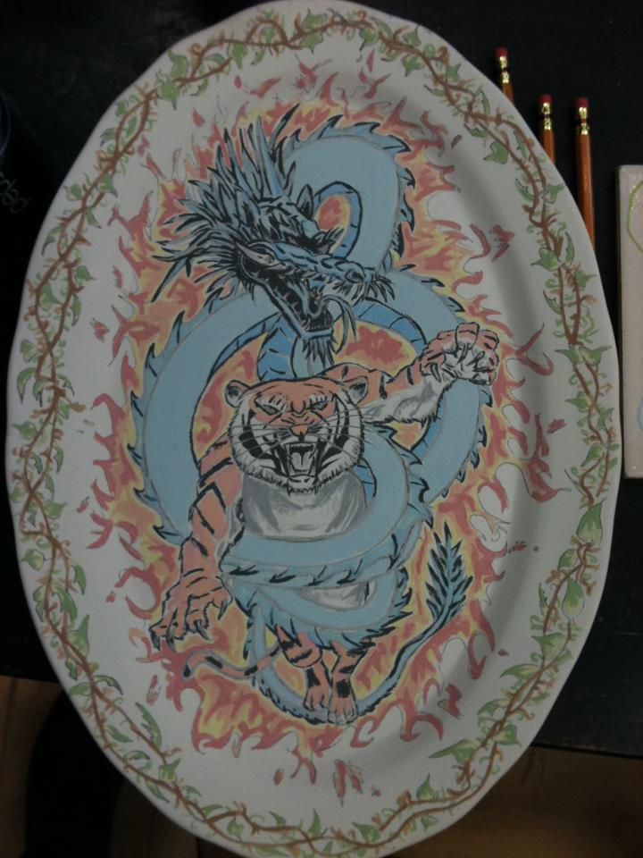 Ceramic art! TigerDragon plate