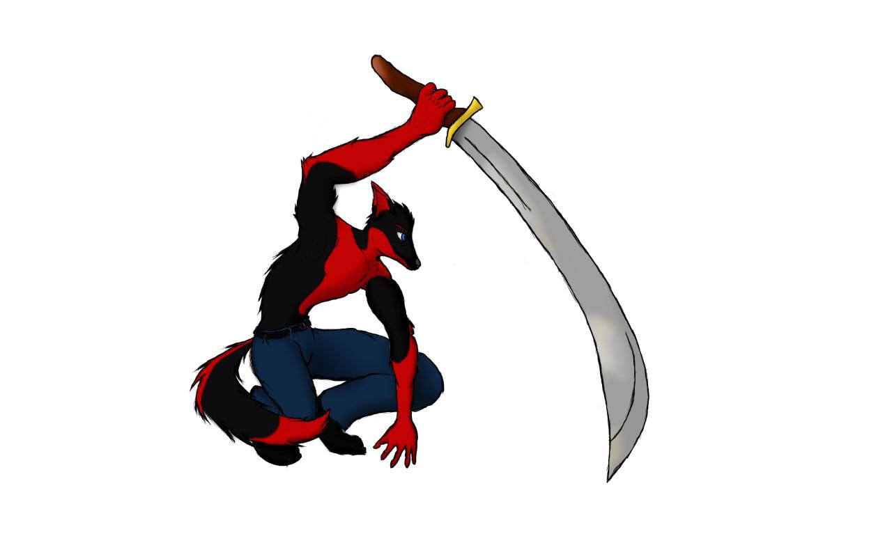 cool sword pose