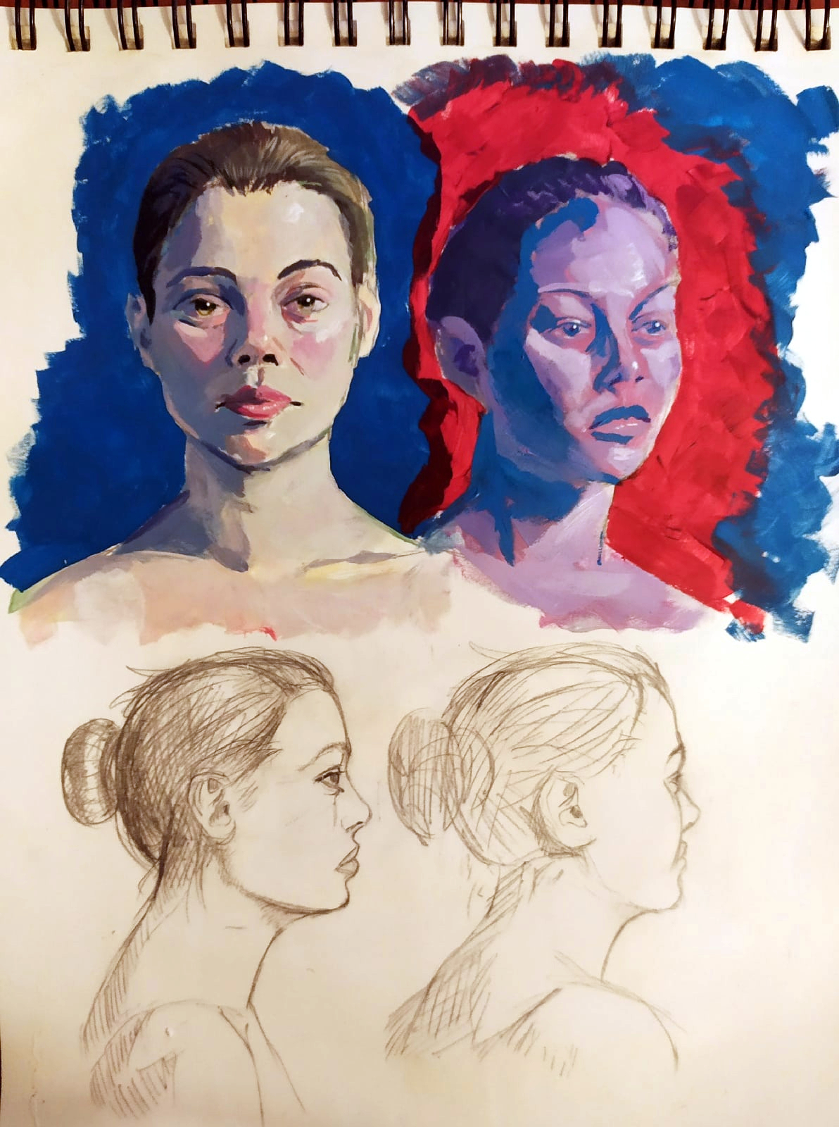 Acrylic portraits practice