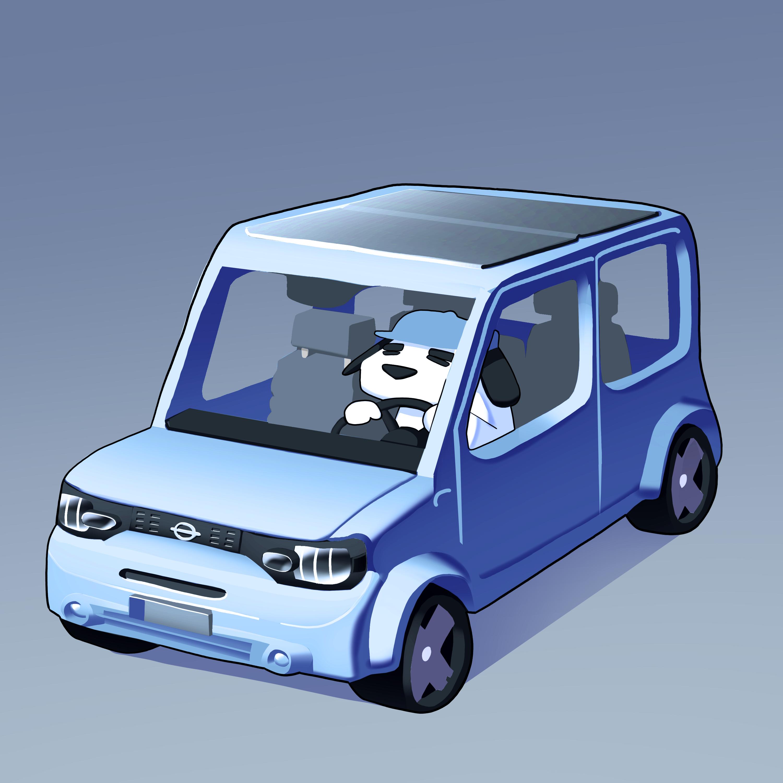 Square dog in a square car