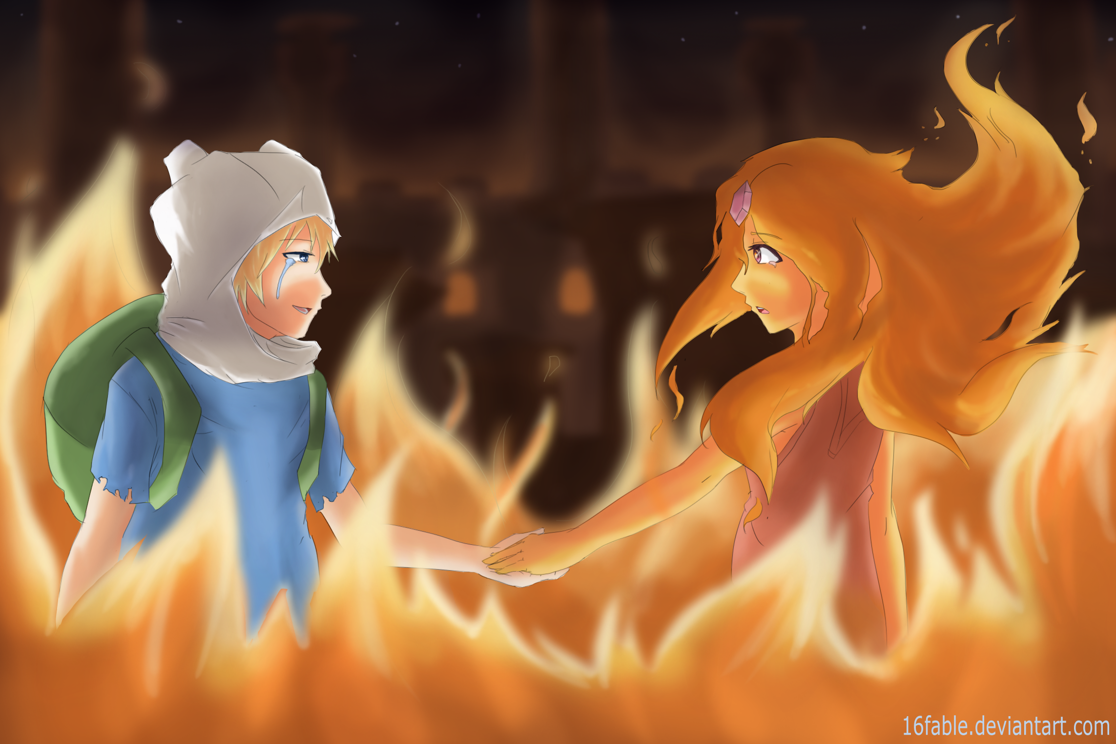 Finn and Flame Princess Fanart