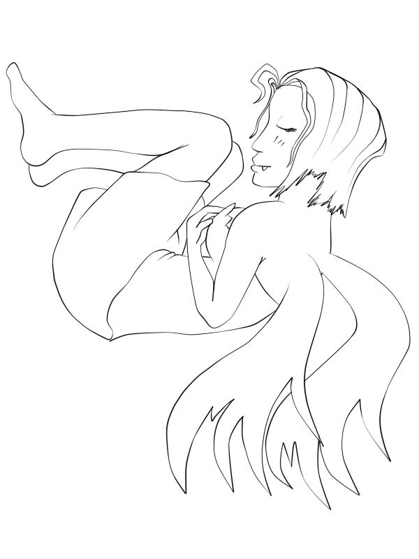 Sleeping Fairy? line art