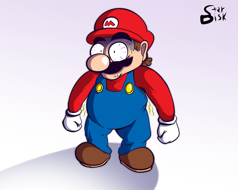 Mario has seen better days...