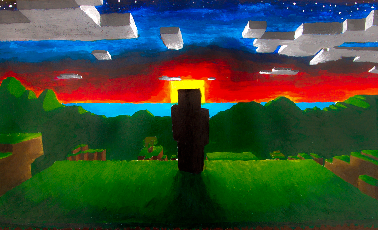 Minecraft At Sunset By Cameronmc On Newgrounds
