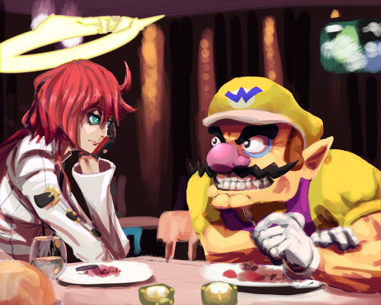Wario and Jack-O Have Dinner