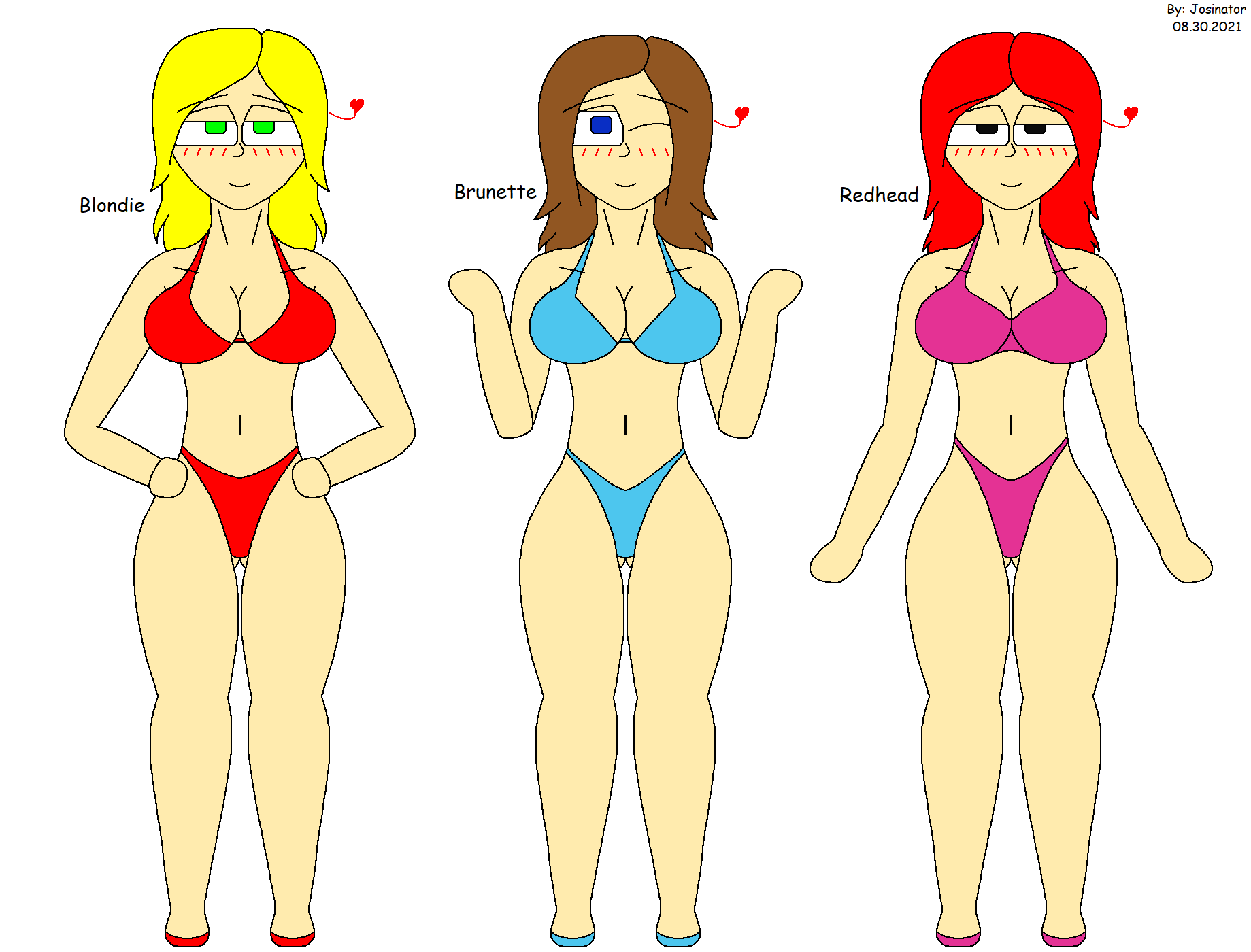 Blondie, Brunette and Redhead