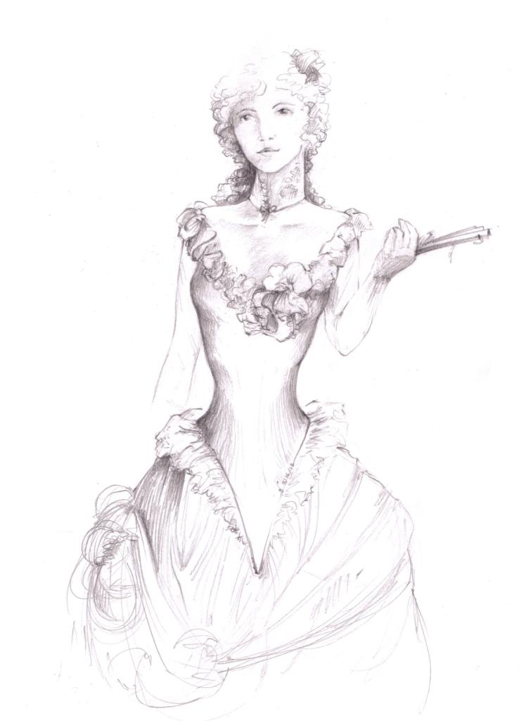 Girl in Victorian dress