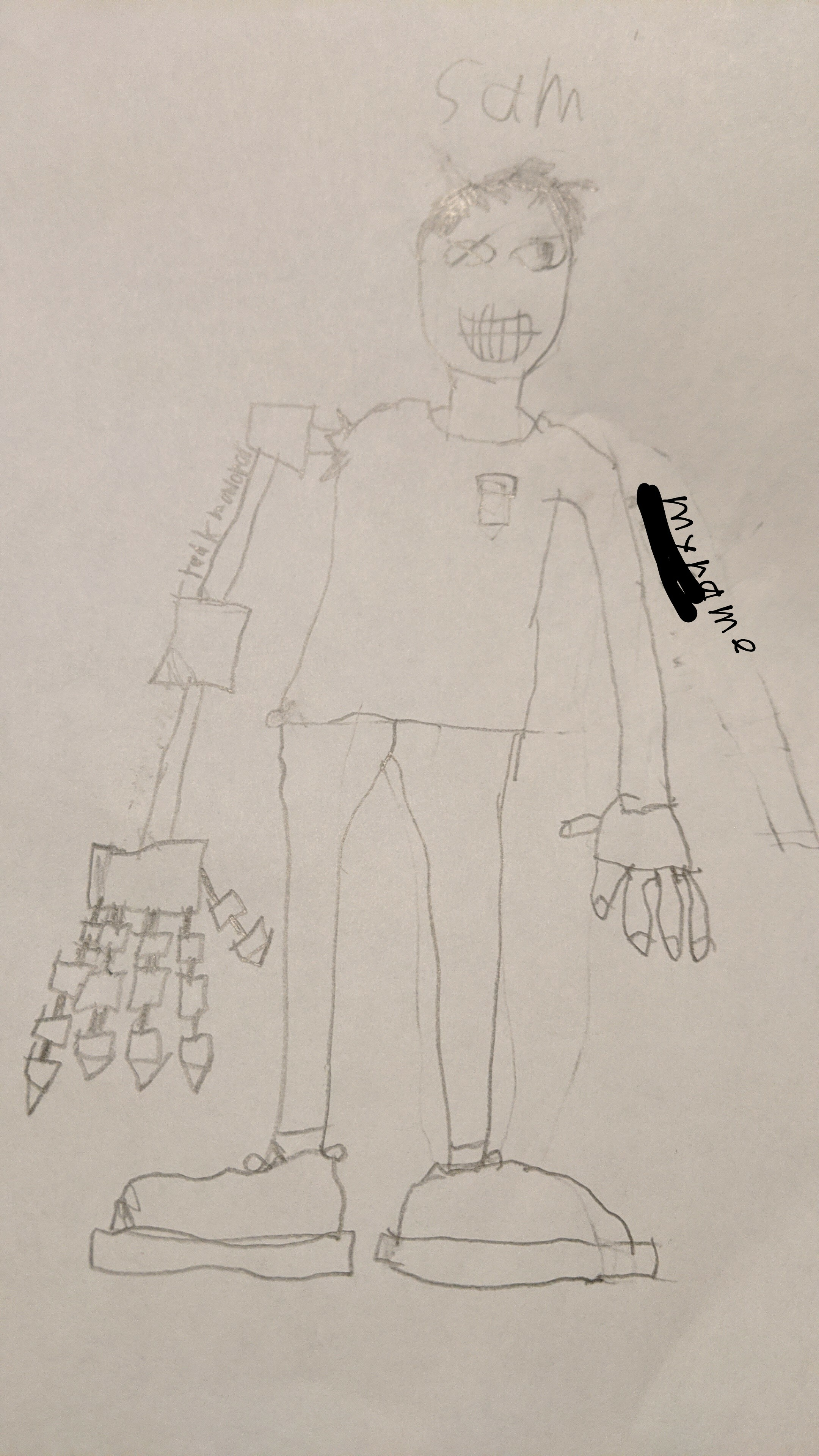 My OC Sam the man with a robotic arm and eye
