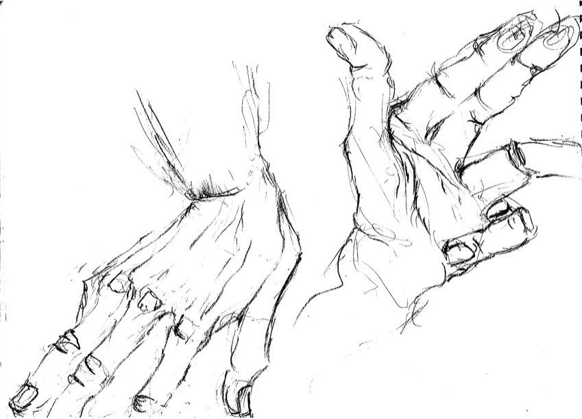 char hands