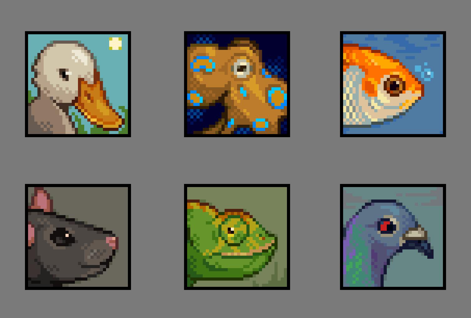 32x32 Animal Portraits