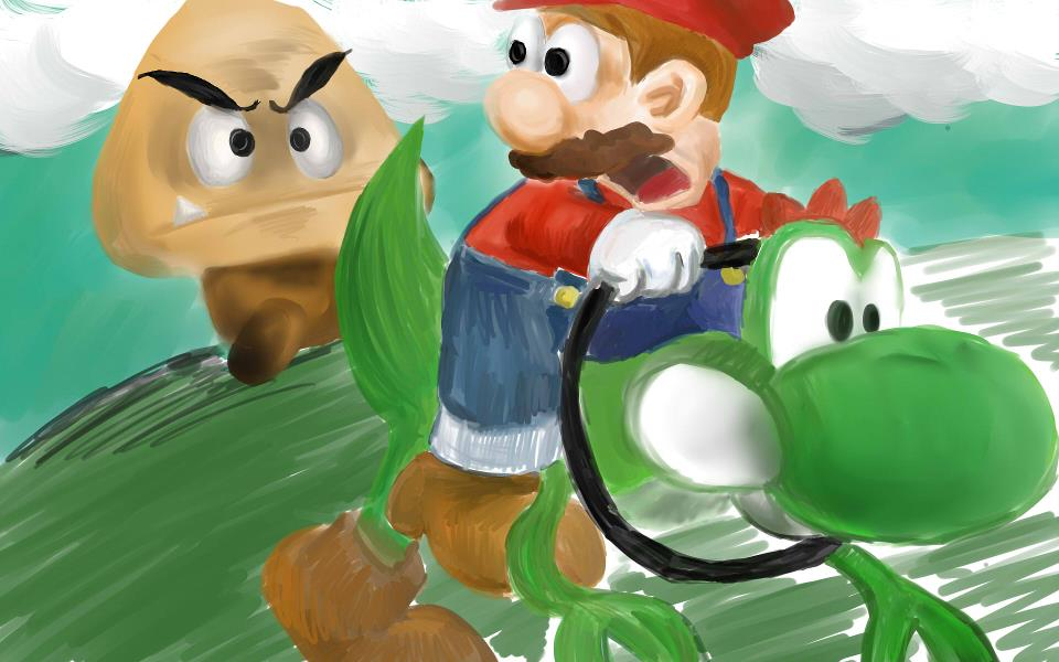 Mario running from goombah