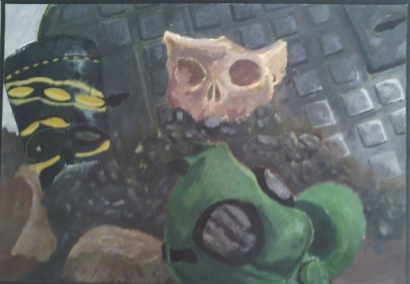 Gas Mask and Skull Still Life