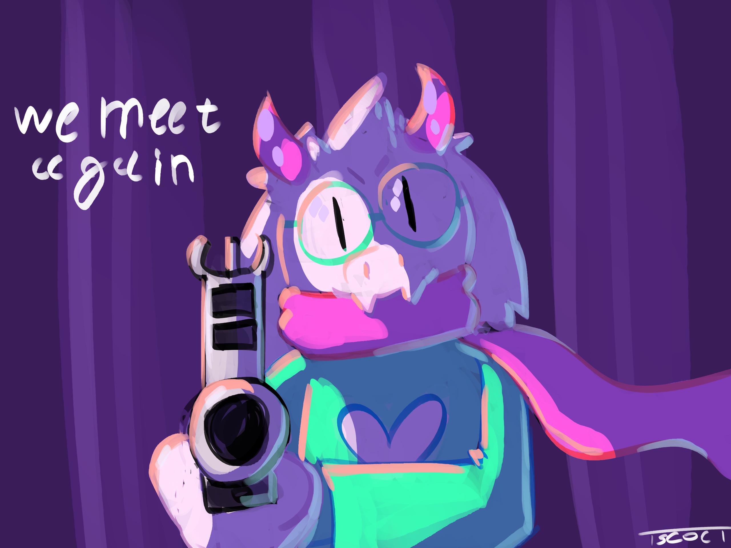 Ralsei points a gun at you