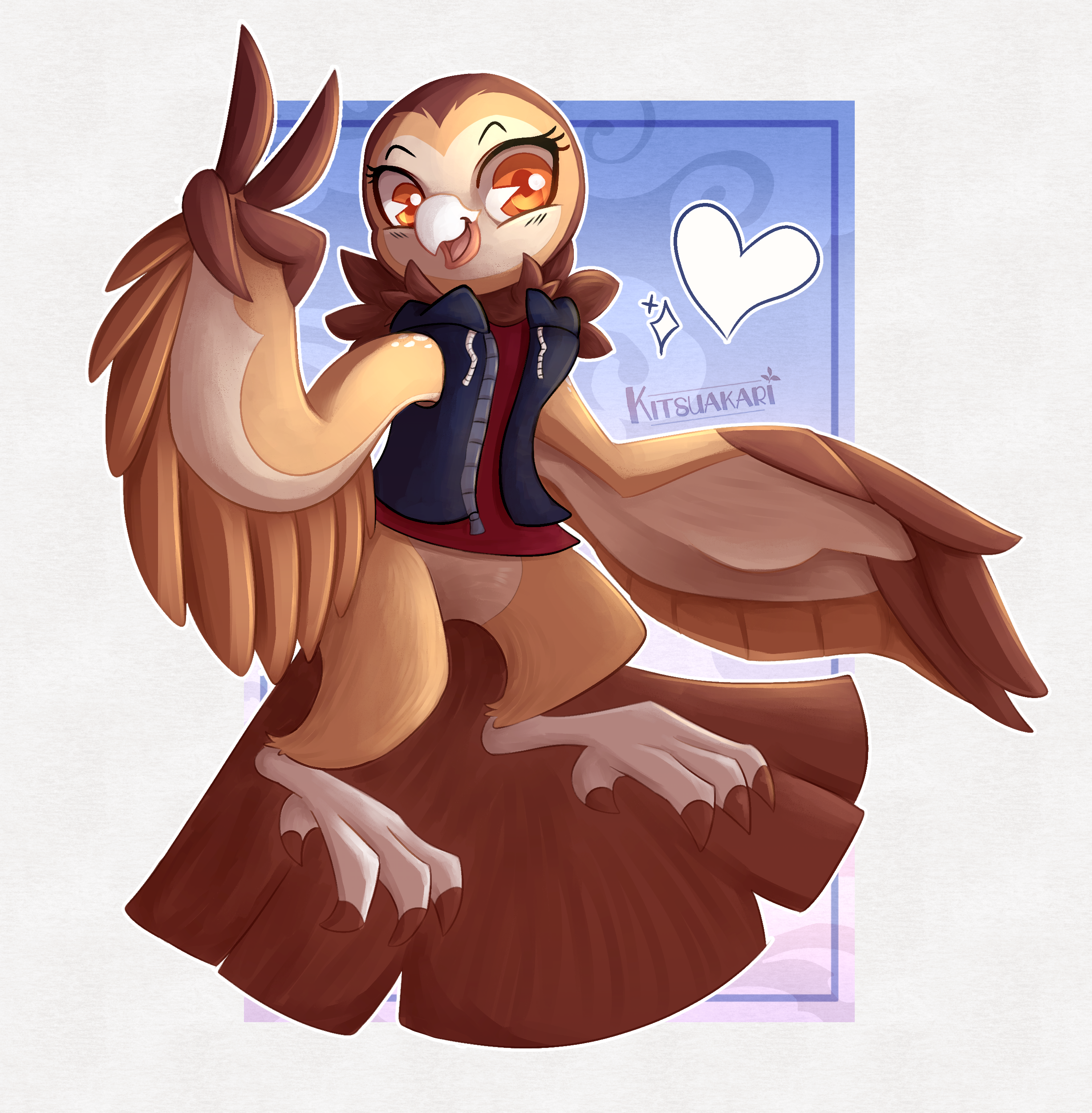 a cute owl girl - commission