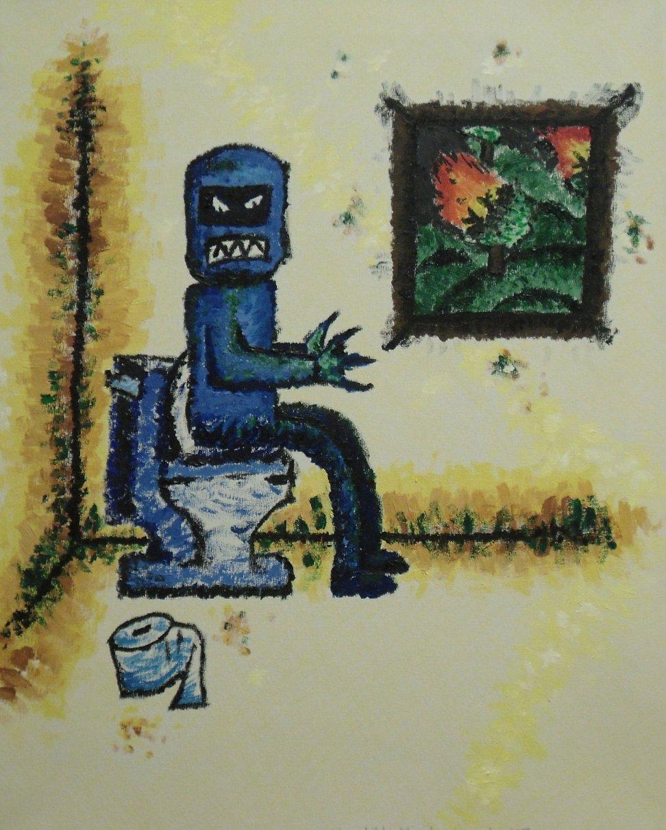 robot on toilet