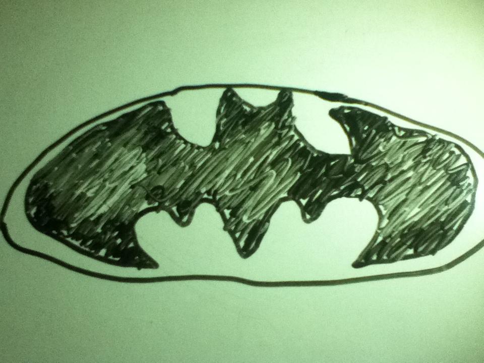 White Board Batman Logo
