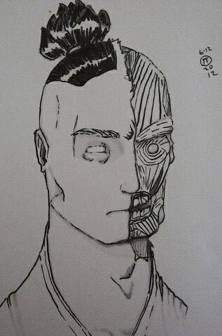 man with half his mask removed