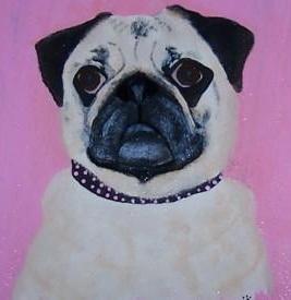 Lola the Pug in Acrylics