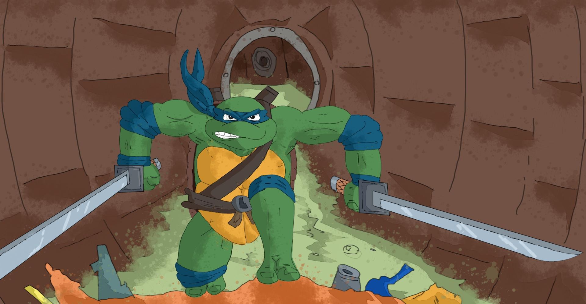 Ninja in a manhole.