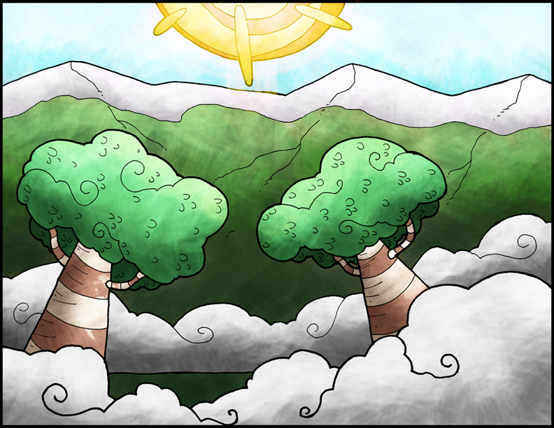 clouded trees