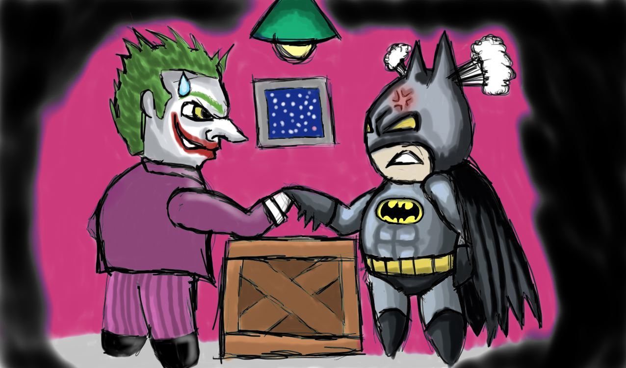 Batman joker arm wrestle