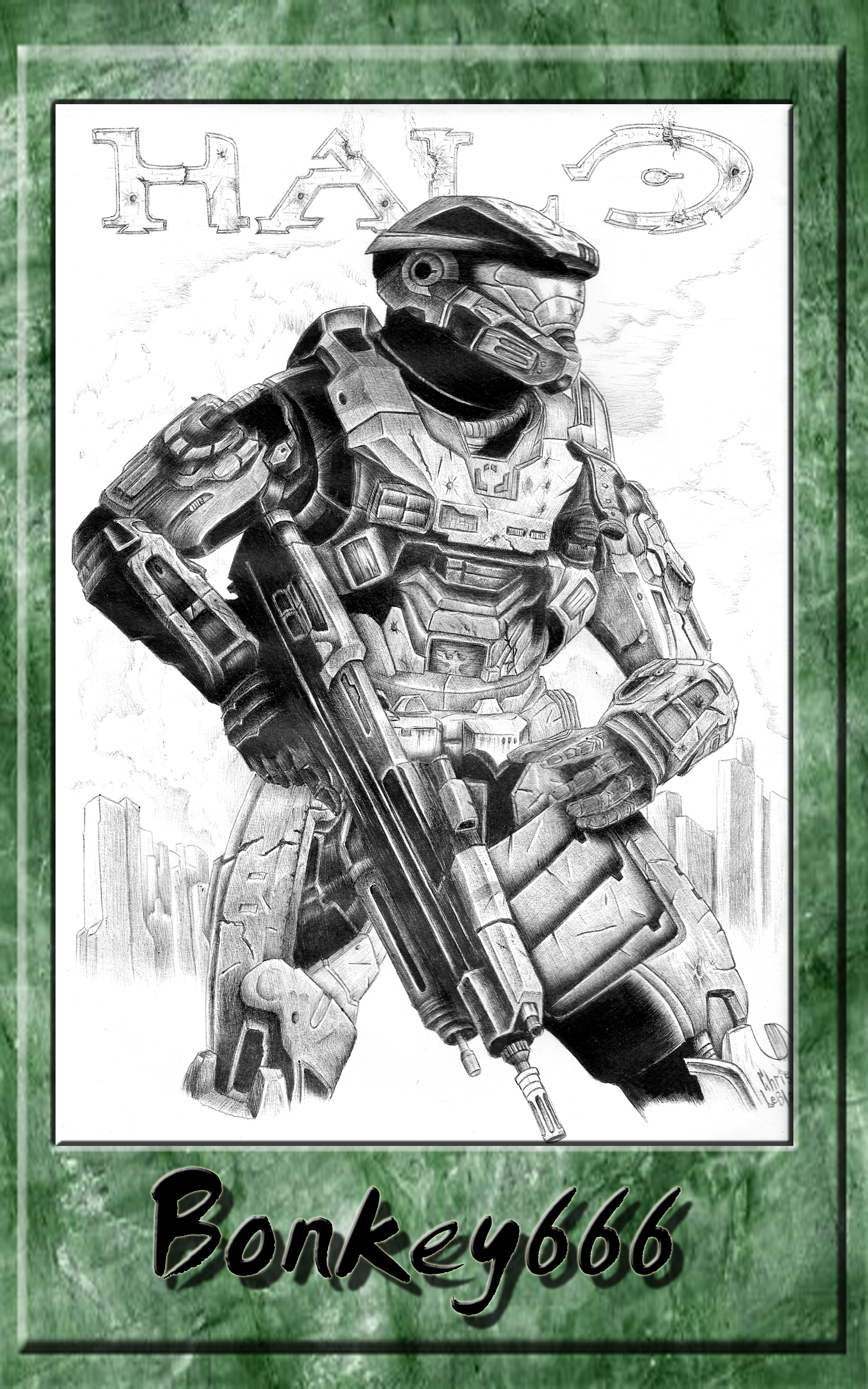 Halo fan art in ballpoint