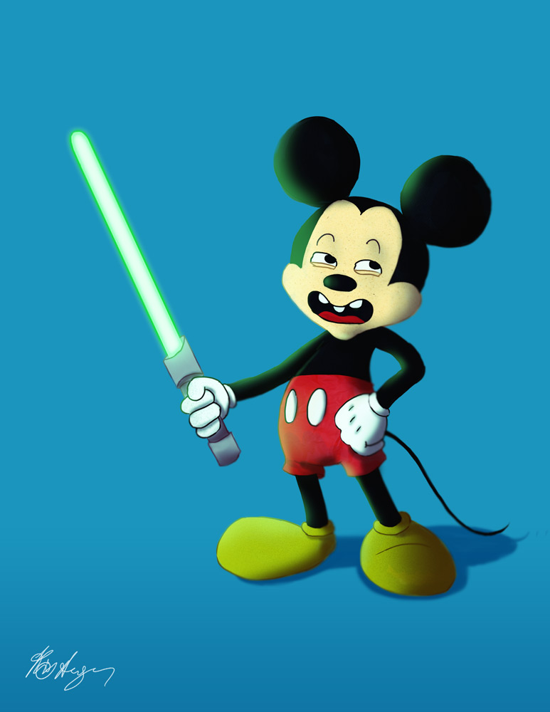 Mickey Mouse with a Lightsaber