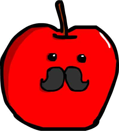 Apple with a moustache