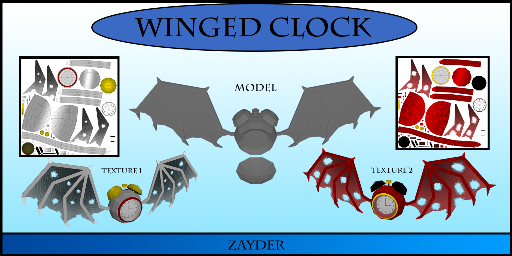 3D Winged Clock Lowpoly