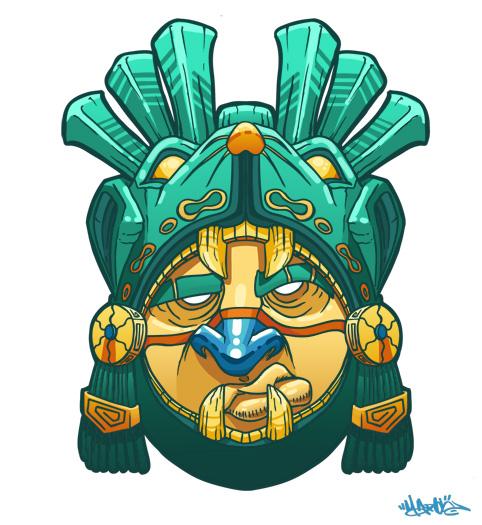 Mayan warrior mask