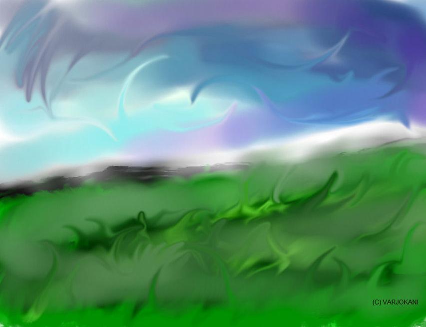 Misty meadow before rain