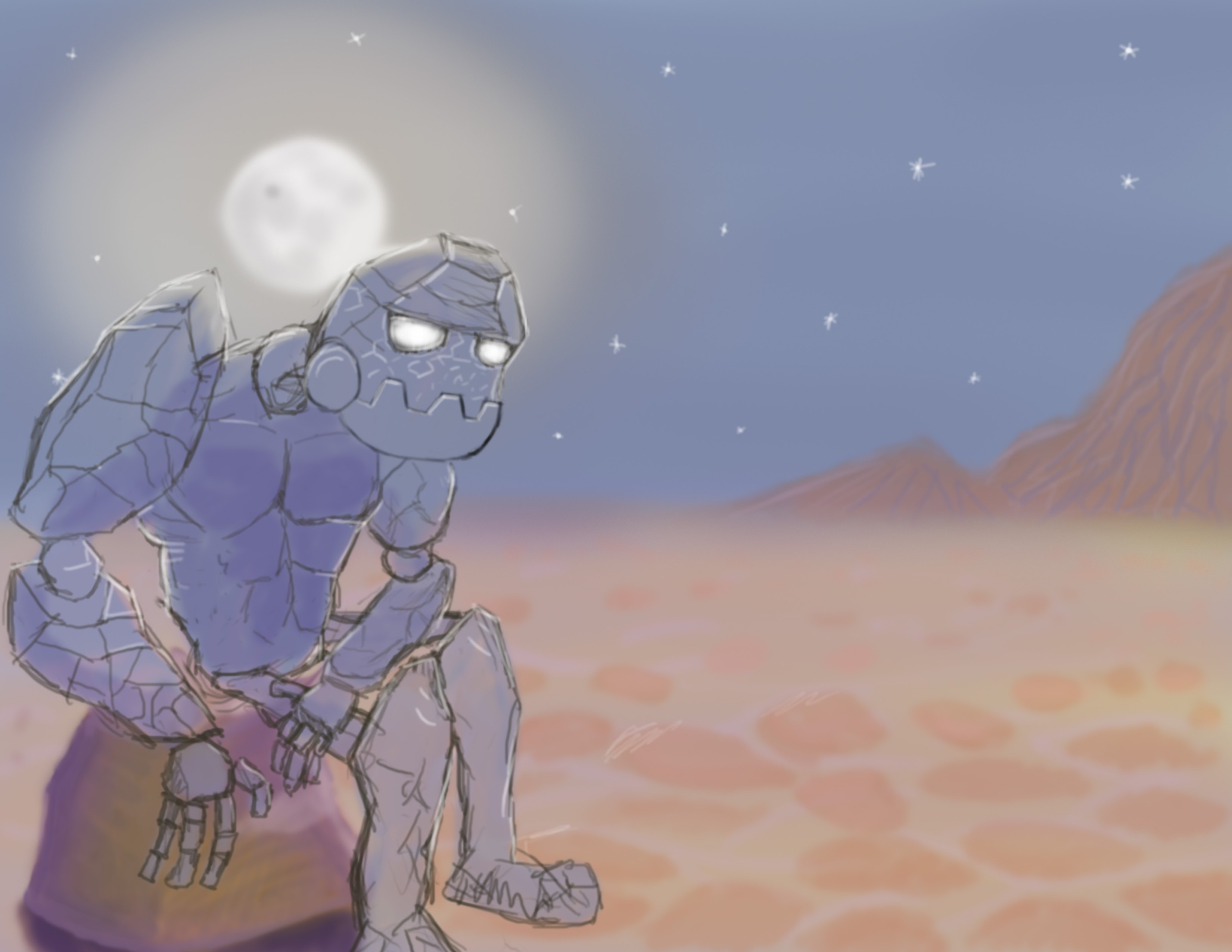 Magic golem by the dessert