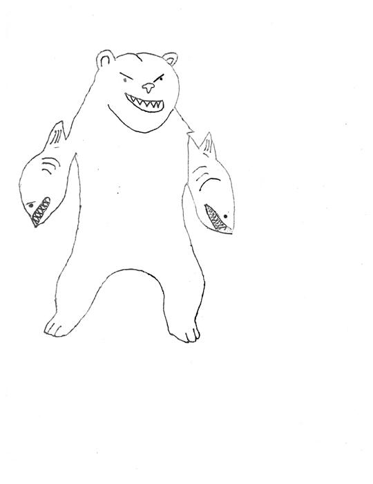 bear with shark arms (b&w)