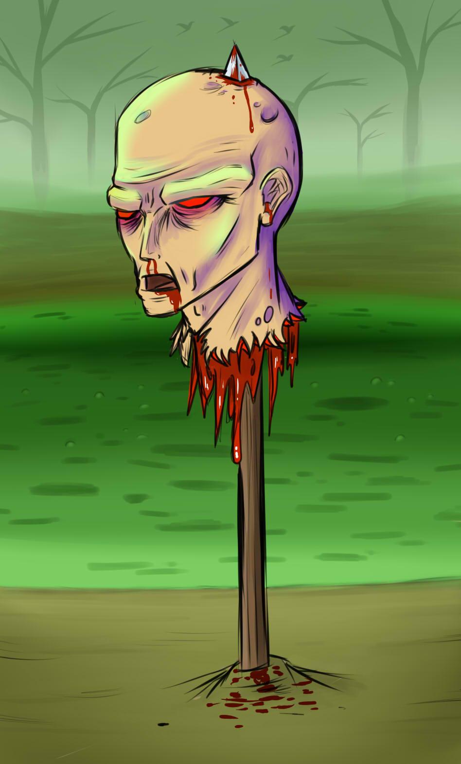 Zombie Head-on-a-stick