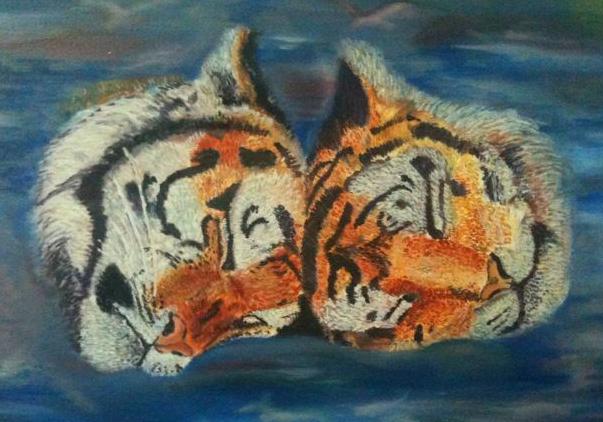 Oil Painting - Sleeping Tigers
