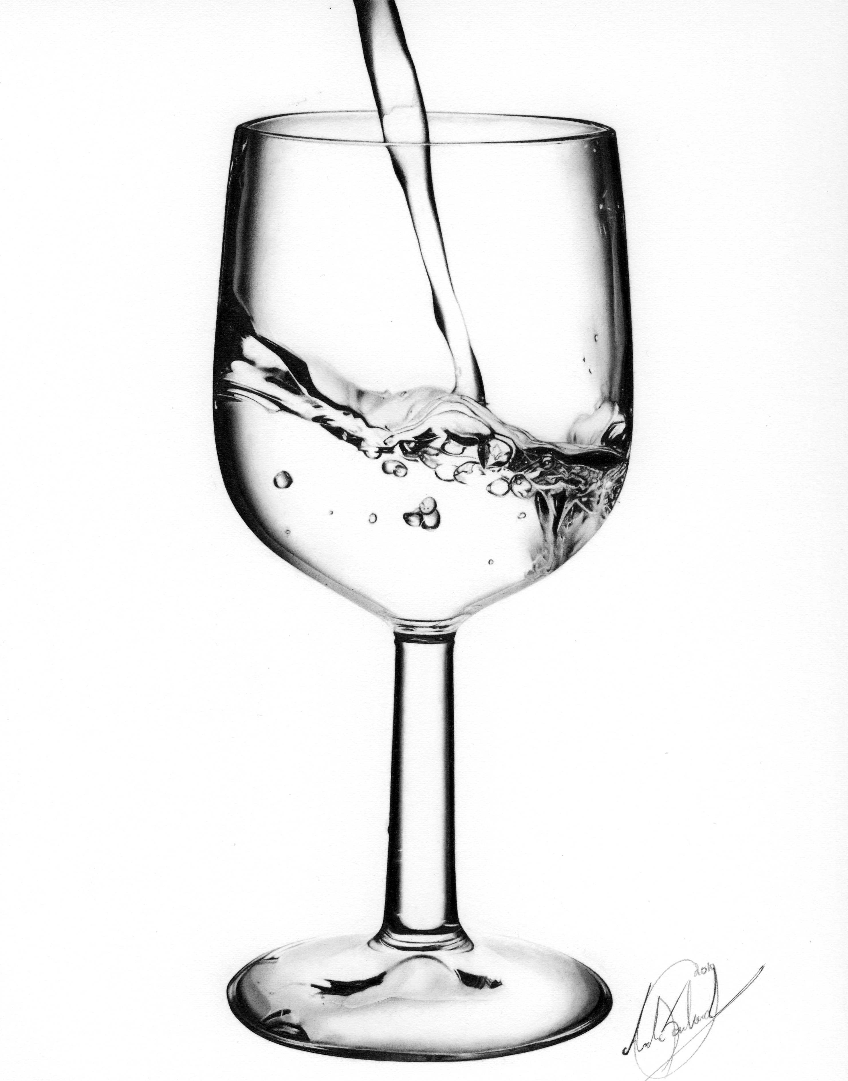 Wine glass with water Drawing