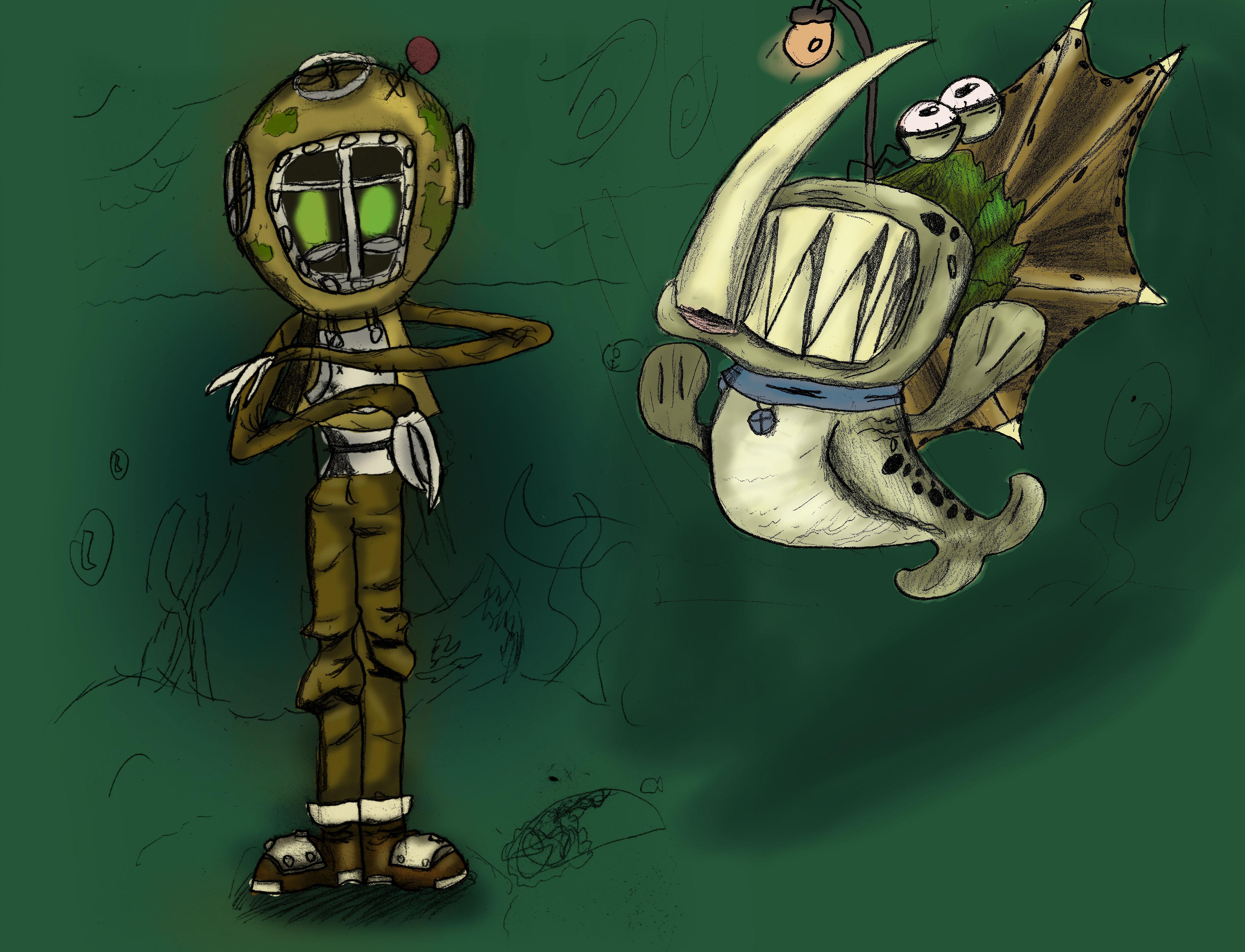 Scuba diver and his pet