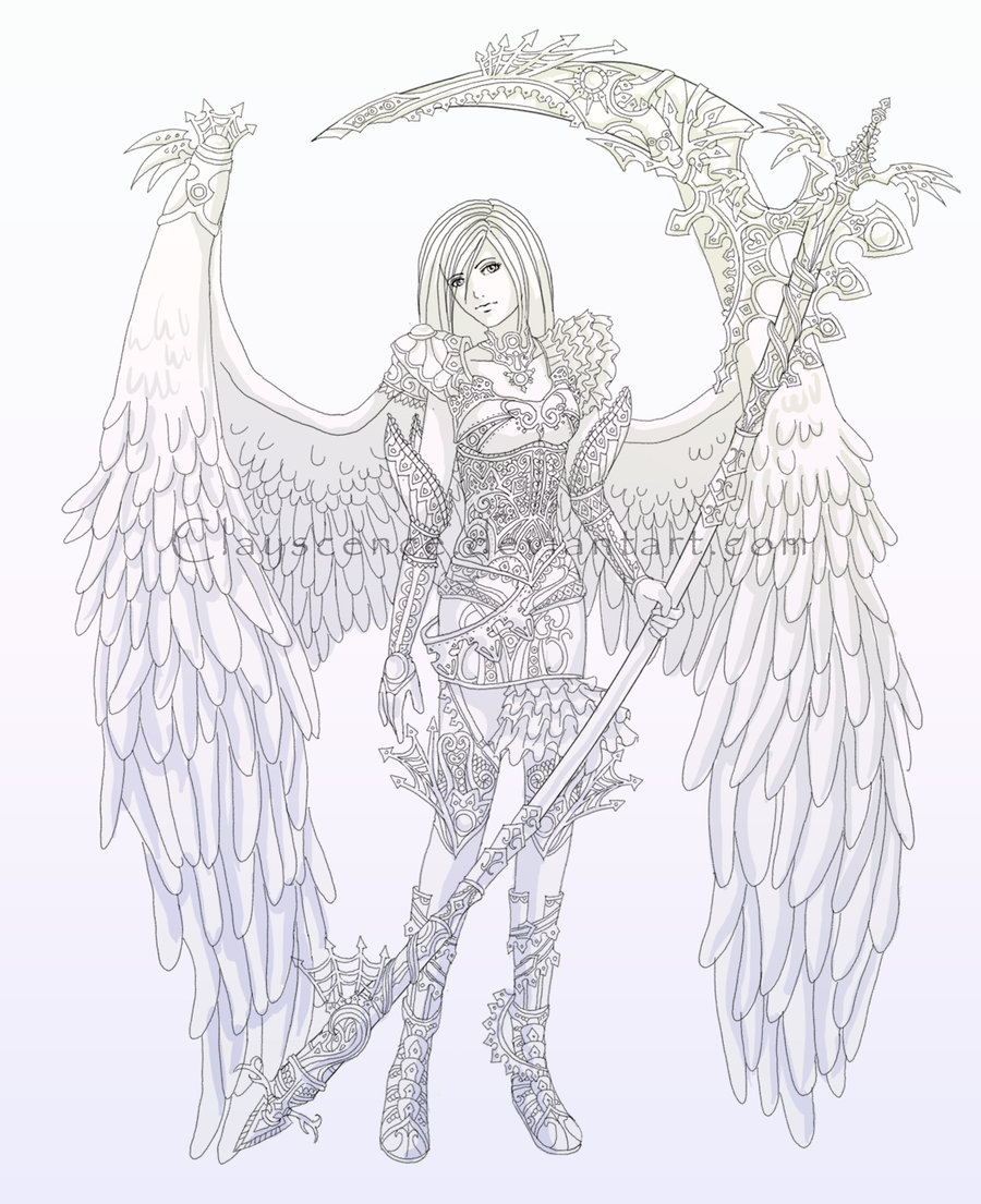 Lineart: guardian of the angel