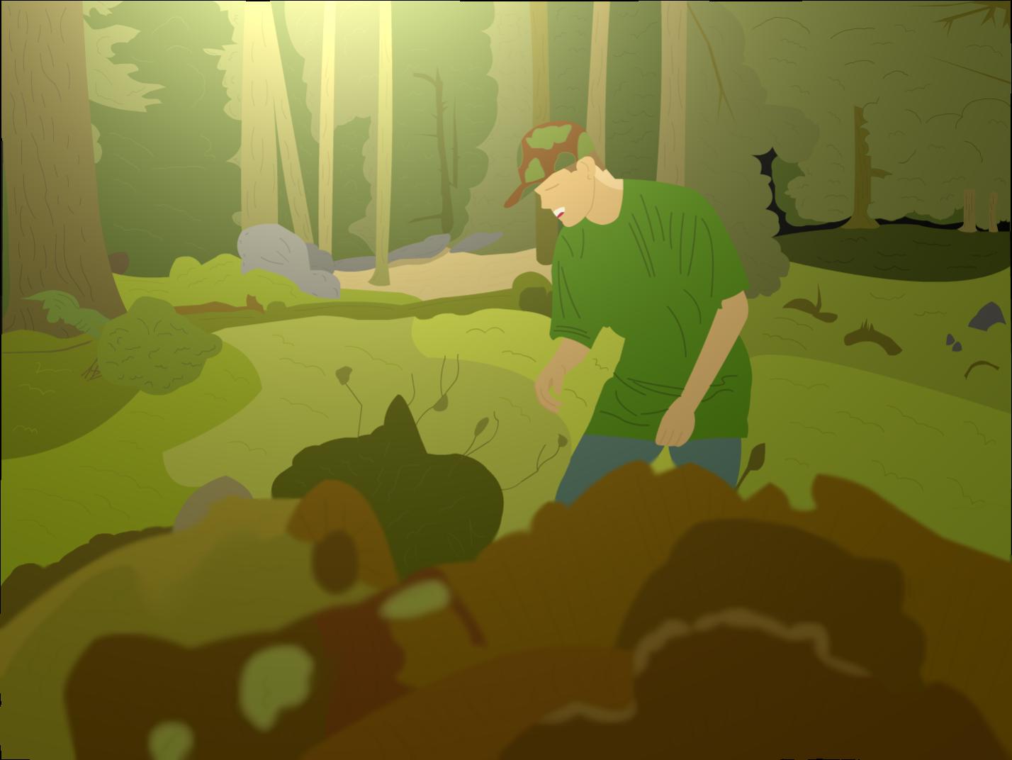 Dan in a forest