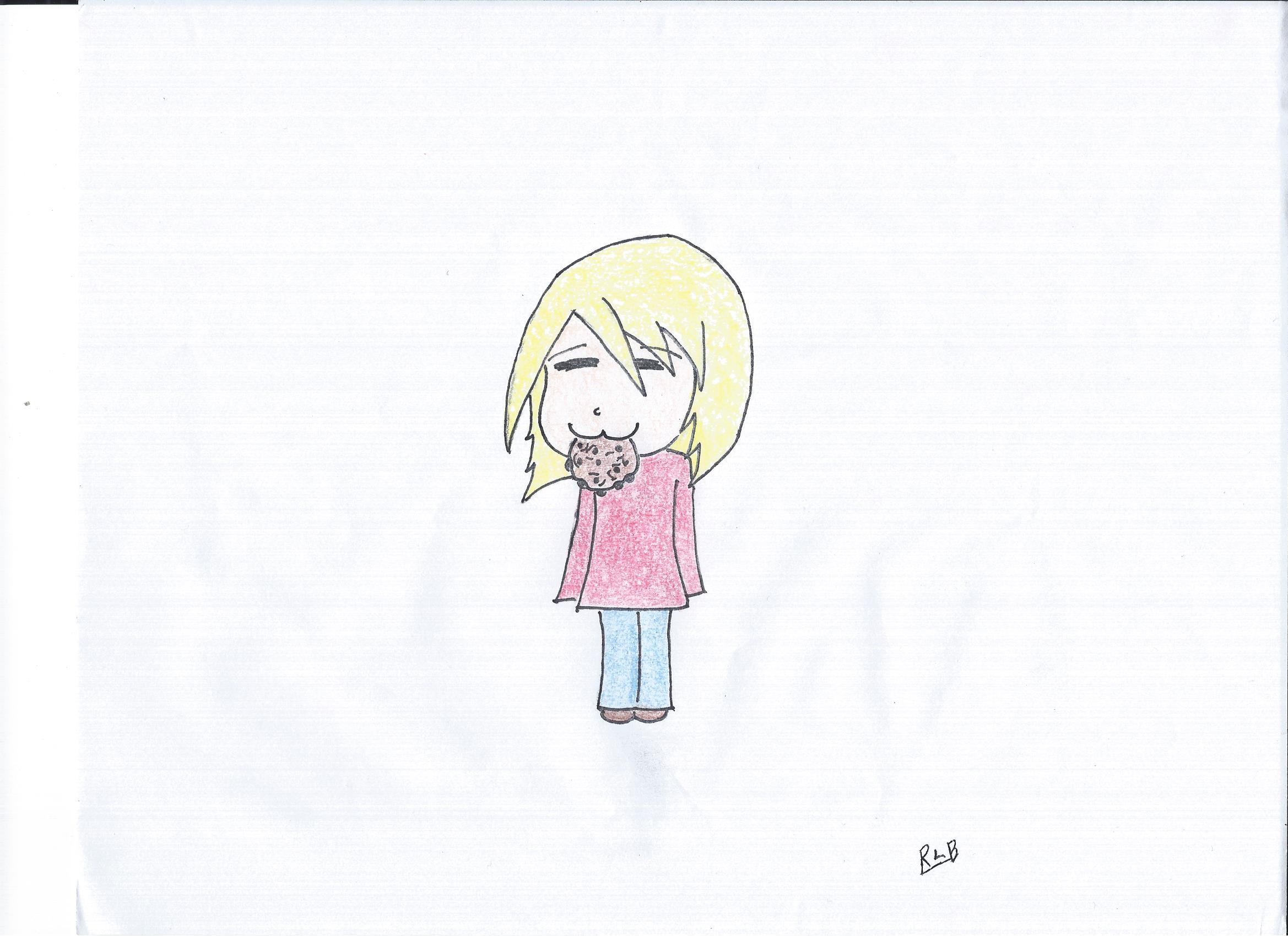 simple drawing of a girl eatin