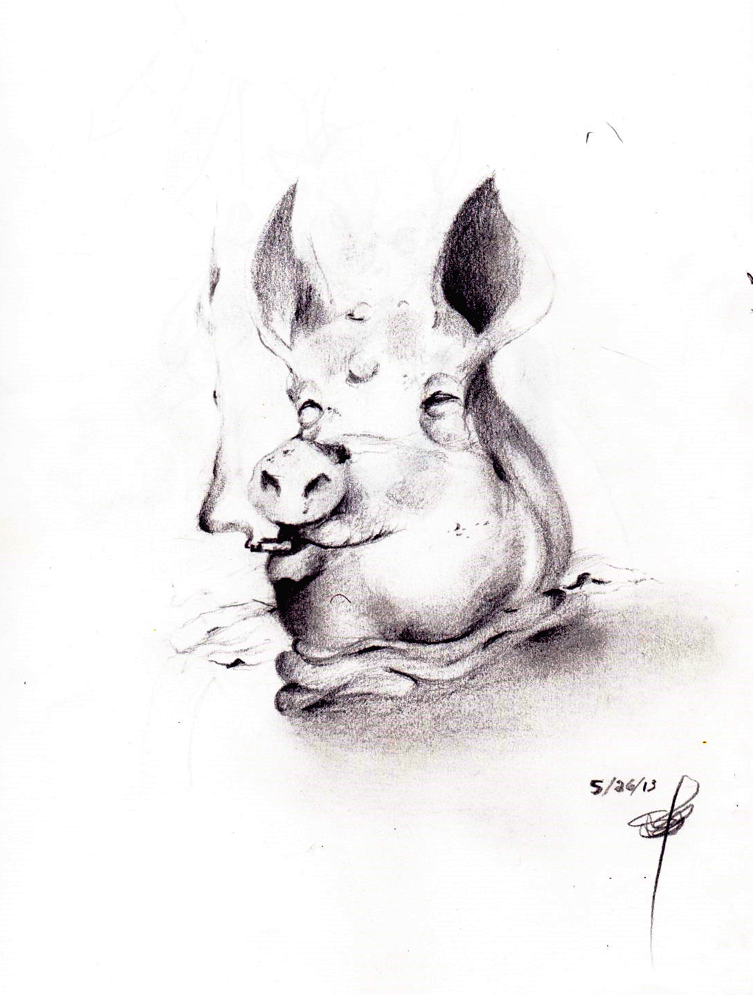 Decapicated pig with cigarette