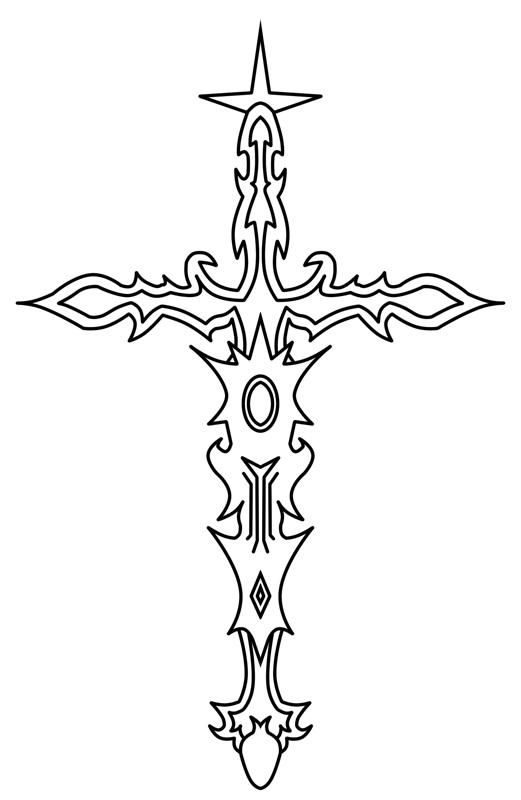 'Cool' cross tattoo