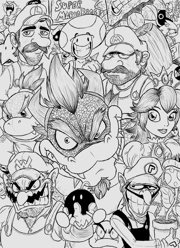 Super Mario Bros B&W