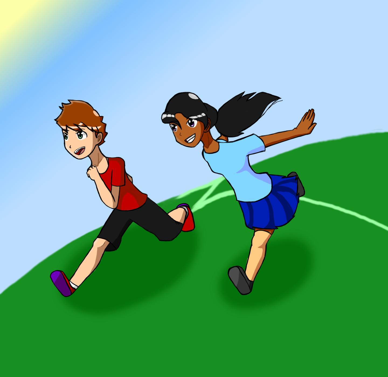 Running through the field